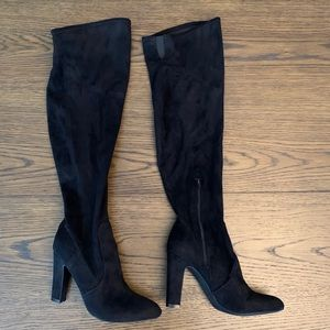 Unisa Black Suede Over The Knee Boots